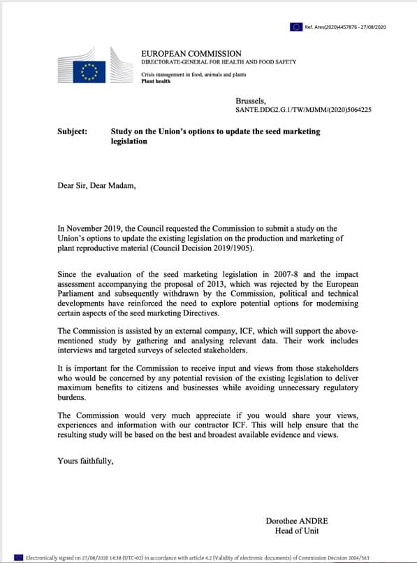 EU Anschreiben Saatgut