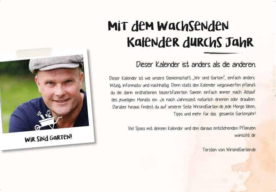 Torsten präsentiert den wachsenden Kalender 2021 von wirsindgarten.de